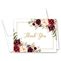 Burgundy Wine Floral Thank You Cards and Envelopes - 50 cnt