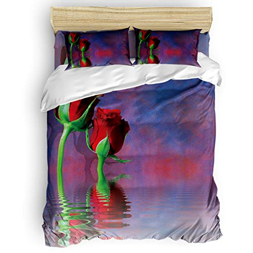 - Arts Language Home Duvet Cover Set Twin Size for Kids/Adults/Teens Rose Flower Reflection in The Lake Soft 4 Pcs Bedding Set with Duvet Cover, Fitted Sheet, Pillowcases