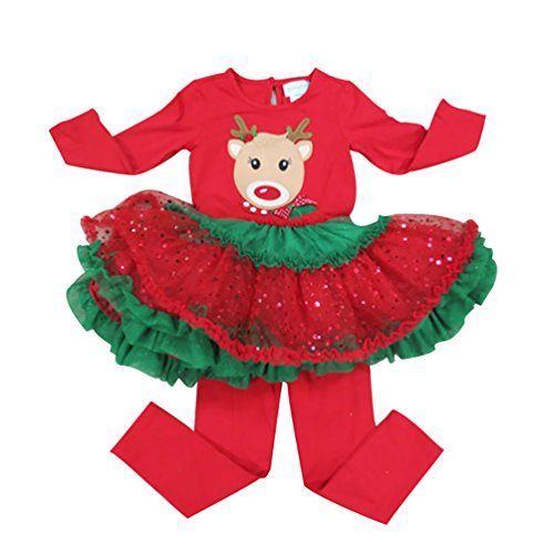 Reindeer Outfits For Babies (D.LIN Girl's Christmas Theme Top + Leggings Outfits Baby Dresses Sets)