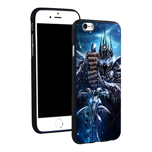 C.N. Blue Black Wrath of The Lich King iPhone 6 Case Wow World of Warcraft 6S Cover Prince Arthas Wow Battle for Azeroth Horde Vs Alliance PVP MMO Computer Game Human Orcs Tauren, Hard Plastic