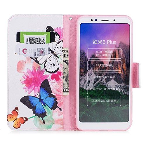 Funda para Xiaomi Redmi 5 Plus , IJIA Un Par de Mariposas TPU + PU Ranuras para Tarjetas de Crédito Flip Folio Caja [Estilo Libro,Soporte Plegable ] Cover Tapa Caso Parachoques Carcasa Cubierta para X