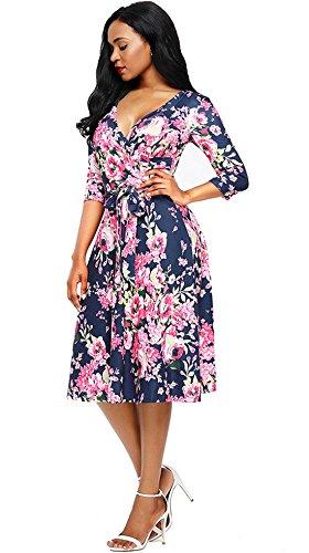 Rétro Manches 3/4 Col En V Imprimé Floral Balançoire Forme Érythémateuse Robe De Soirée Midi Féminin Chouyatou Rose Bleu