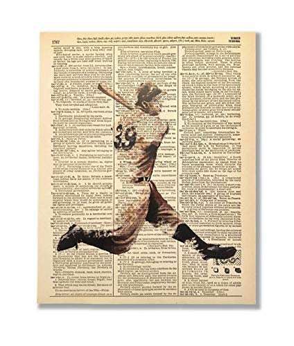 Swing 39 Baseball Upcycled Vintage Dictionary Art Print 8x10 UNFRAMED Action Collection