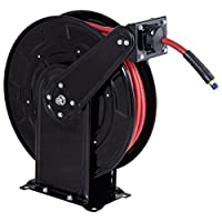 "Goplus Steel Air Hose Reel with Retractable 3/8""x 65' Rubber Hose, Heavy Duty and High Pressure, Max. 300 PSI"