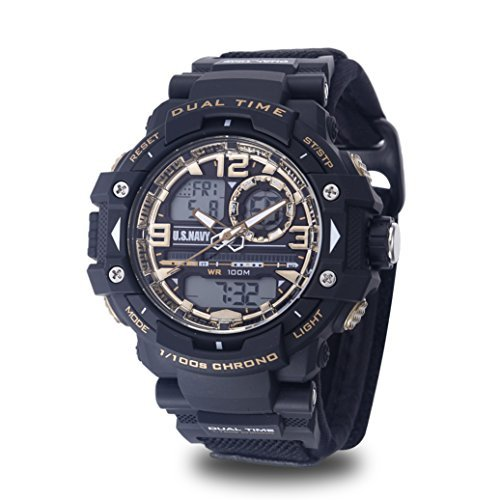 (Men's U.S. Navy C41 Multifunction Watch by Wrist Armor, Black and Gold Dial, Black Velcro Strap)
