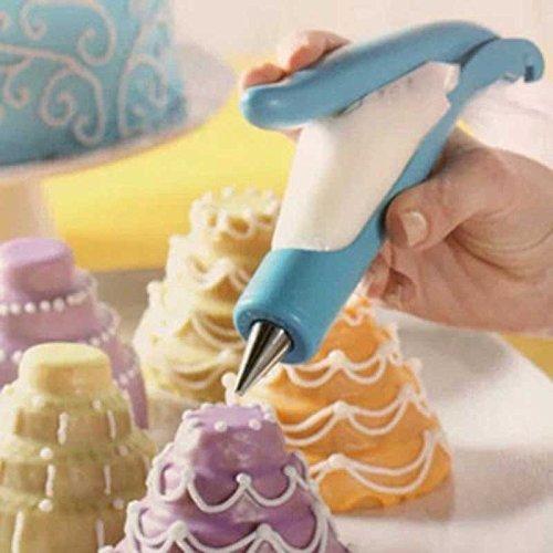 Pastry Icing Piping Set, Cookie Maker Press Gun Kit with 4 Icing Tips, Chocolate Cake Sugar Craft Decorating Pen Tool Set