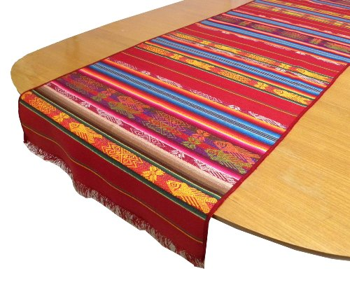 Woven Table Runner (Serape Hand Woven Traditional Fish Pattern on Table Runner, Red)