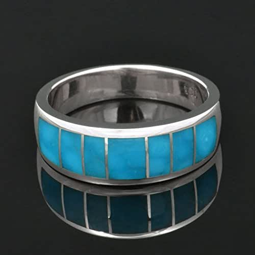 Amazon Com Men S Turquoise Wedding Ring In Sterling