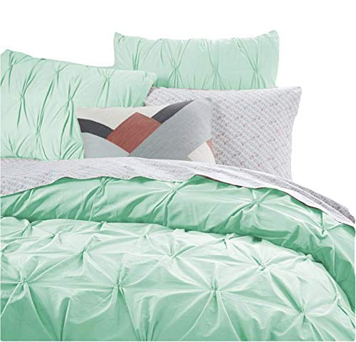 Pinch Pleated Pintuck Duvet Cover Set (1 Duvet Cover + 2 Pillow Shams) 400 TC Thread Count 100% Single Ply Cotton Sateen Weave with Zipper Closure and Corner Ties Full (3 Piece) - Mint Green ()
