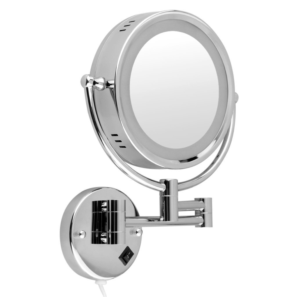 Floureon 10x Magnification 8.5 Inch Plug in Operated LED Lighted Double-Sided Wall Mounted Makeup Mirror, 2.4 Inch Thickness, 11 Inch Extension, Chrome Finish for Cosmetic Shaving Bathroom