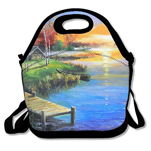 (Lunch Boxes Oil Painting Village Lunch Tote-Personalized Lunch Bags)
