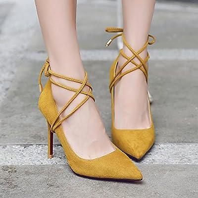 Xue Qiqi chaussures à talons hauts avec des talons hauts fille lumière fine-sauvages avec le bout noir satiné dans le simple dames chaussures,35, jaune 9 cm