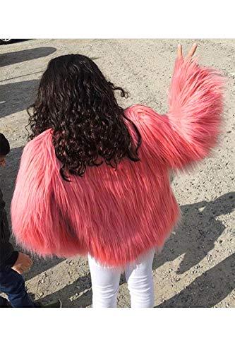 Piel Para Zamtapary De Rosa Mujer Sintética Chaqueta Abrigo qP68x6vO