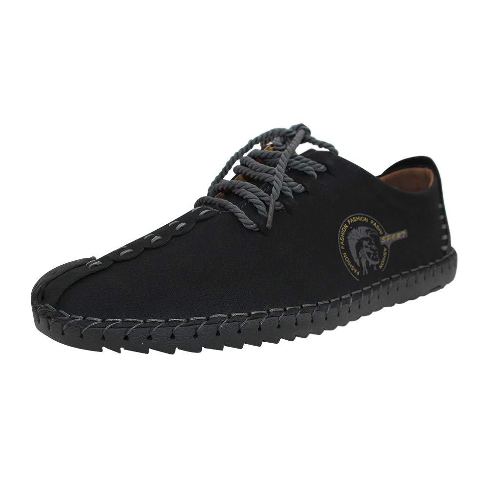 TALLA 39 EU. Yudesun Mocasines Zapatos Hombre - Negro Cuero Oxfords Zapatillas Cordones Zapato Negocio Vestir Espacio de Trabajo Cuero Partido Casual Bajos de Bandas Moda