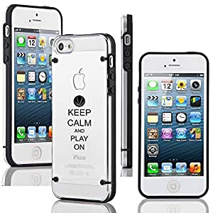 Apple iPhone 5c Ultra Thin Transparent Clear Hard TPU Case Cover Keep Calm and Play On Basketball (Black)