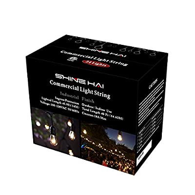 48Ft Commercial Grade Outdoor String Lights, Weatherproof