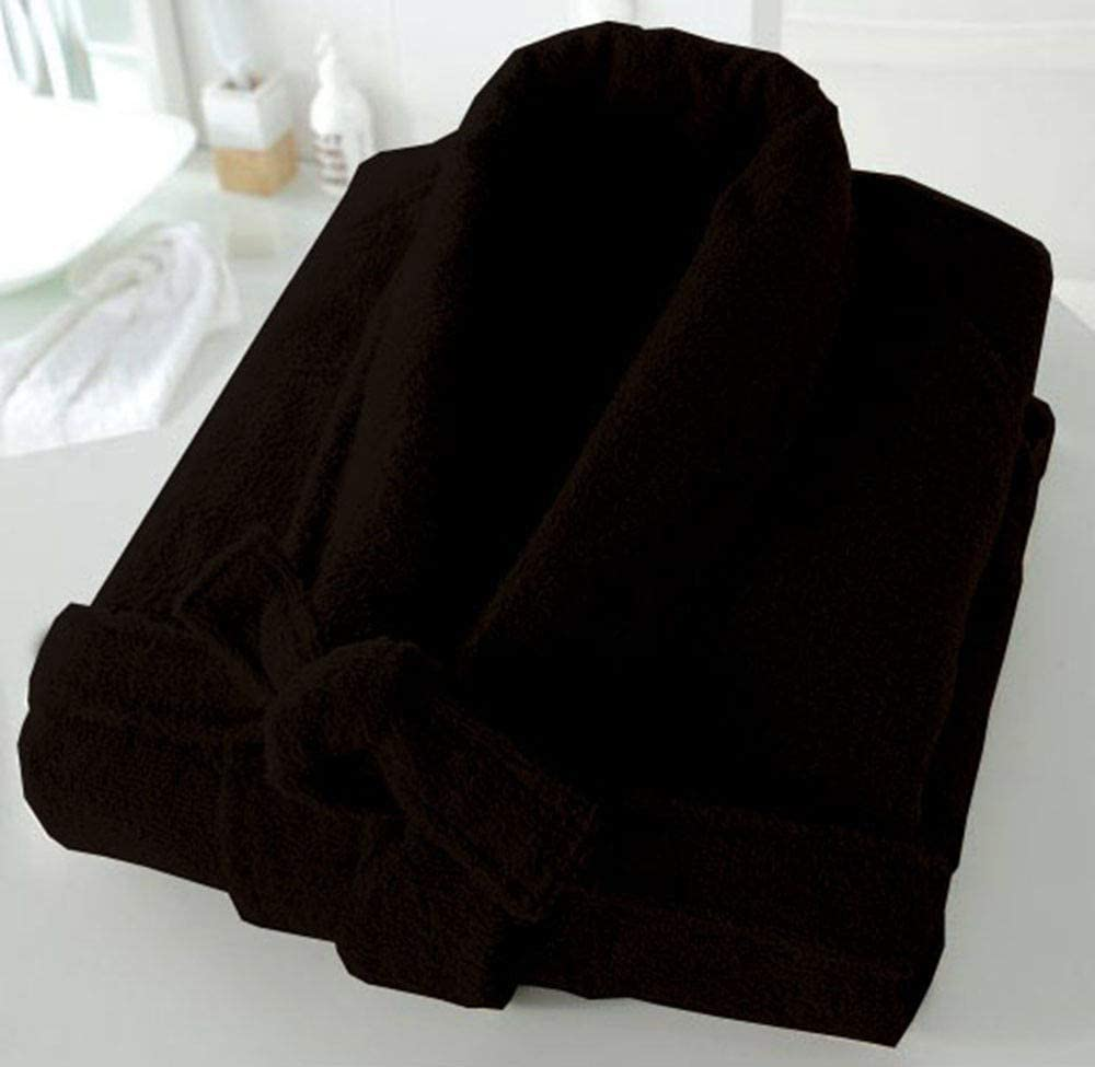 Casabella Uni Sex 100/% Cotton 500 Gsm Terry Towelling Shawl Collar Bath Robe Dressing Gown/_Black/_Small