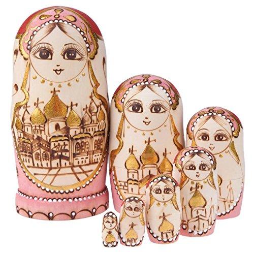 GreenSun TM 7Pcs/Set Castle Church Type Russian Matryoshka Dolls Wooden Hand Painted Fun Stacking Russian Nesting Dolls Gift Home Decoration by GreenSun