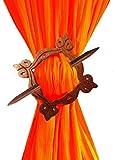 WhopperIndia Decorative Wooden Curtain Tiebacks - Window Treatment Hardware Curtain Holdbacks Drape Holder for Home Office 8 Inch