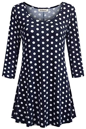 (Nandashe Fall Shirts for Women, Woman's Casual Cute Mock Collar Polka Dot Printed Mid Sleeve Tunic Blouses Winter Undershirts Navy White Dot XXL )