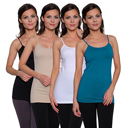 Free to Live 4 Pack Women's Seamless Basic Layering Cami Tank Top with Spaghetti - Nylon Slip Camisole