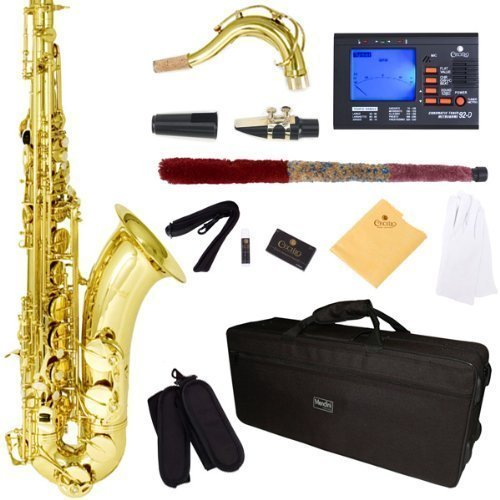 Mendini by Cecilio MTS-L+92D Gold Lacquer B Flat Tenor Saxophone with Tuner, Case, Mouthpiece, 10 Reeds and More by Mendini