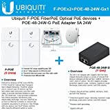 Ubiquiti F-POE 2Pack FiberPoE Optical PoE devices +POE-48-24W-G Adapter 5A 24W