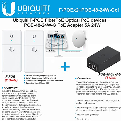 Ubiquiti F-POE 2Pack FiberPoE Optical PoE devices +POE-48-24W-G Adapter 5A 24W by Ubiquiti Networks