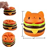 Viccent Pack of 3 Jumbo Slow Rising Squishies Kawaii Cat Hamburger Fries Ice Cream Scented Bread Hand Pillow Decompression Squeeze Toys Decorative Large Props