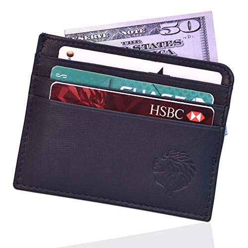 Louis Pelle Leather Men Minimalist Wallet RFID Blocking Slim Wallet