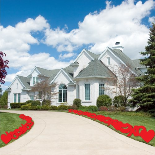 VictoryStore Yard Sign Outdoor Lawn Decorations: Hearts, Kisses, and XO's Valentine's Day Pathway Markers – Set of 24
