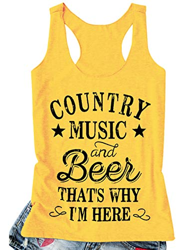 Tank Tops for Women Vintage Country Music Tank T Shirt Cute Funny Beer Drinking Friend Racerback Vest Hawaiian Tanks (Large, Yellow) ()
