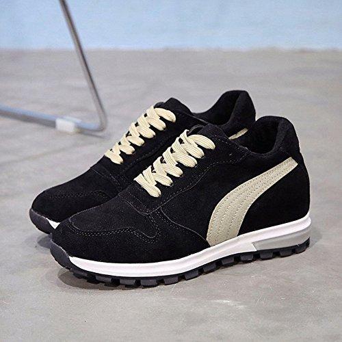 Btrada Womens Aumentata Sneakers Stringate In Pelle Scamosciata Di Pelle Scamosciata Antiscivolo Casual Scarpe Sportive Da Corsa Outdoor Black2