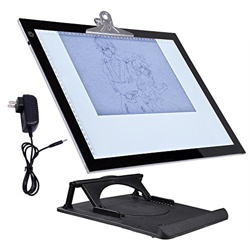 GHP 360° Rotating Pad Adjustable Height Tablet Size 19'' 36-LED Backlit Drawing Board by Globe House Products