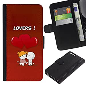 KingStore / Leather Etui en cuir / Apple Iphone 6 PLUS 5.5 / Lindo amantes Coupkle