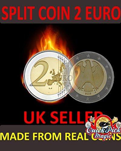 COIN THRU BRASS BOX MAGIC TRICK 2 EURO VERSION CLOSE UP 2 EURO COIN MAGIC
