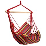 YUEBO Hanging Rope Hammock Chair Porch Swing Seat for Indoor or Outdoor Spaces Max.265 Lbs with One Spreader Bar Red Blue