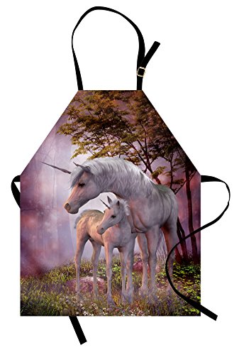 Lunarable Fantasy Apron, Family of Unicorns with Mother and Foal in a Rural Environment Misty Forest, Unisex Kitchen Bib Apron with Adjustable Neck for Cooking Baking Gardening, Pastel Purple -