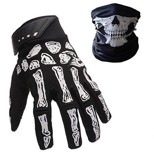 K-mover Full Finger Gloves Silica Shock-Absorbing Bike Gloves Skeleton Knight Gloves + Cycling Skull Face Mask (Meidum Gloves + ()