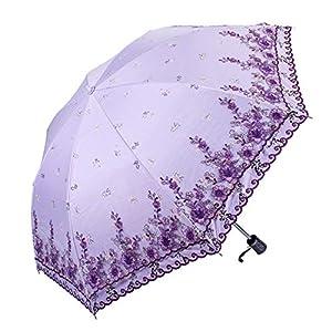 Honeystore Bridal Vintage Umbrella Decoration Flower Lace Parasol Sun Protection HM6166 Purple