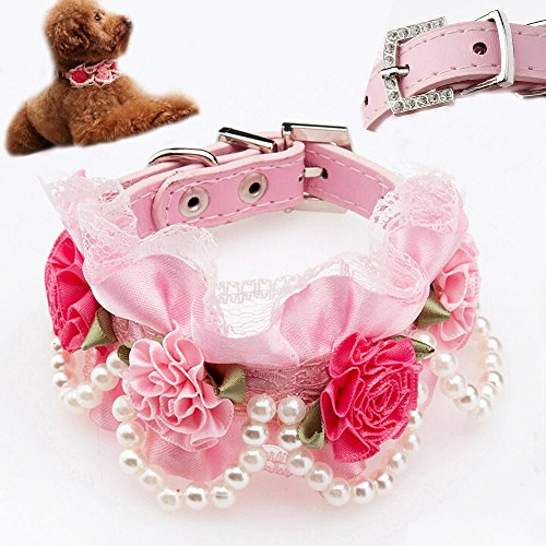 Rhinestone Party Collar - Bro'Bear PU Leather Adjustable Beaded Pet Necklace Dog Puppy & Cat Kitty Buckle Collar with 4 Strings of Pearls, Lace, Rhinestone & 4 Flowers for Small Animals Everyday Walking/Party/Holiday/Wedding/Birthday Accessories (Pink, Small)