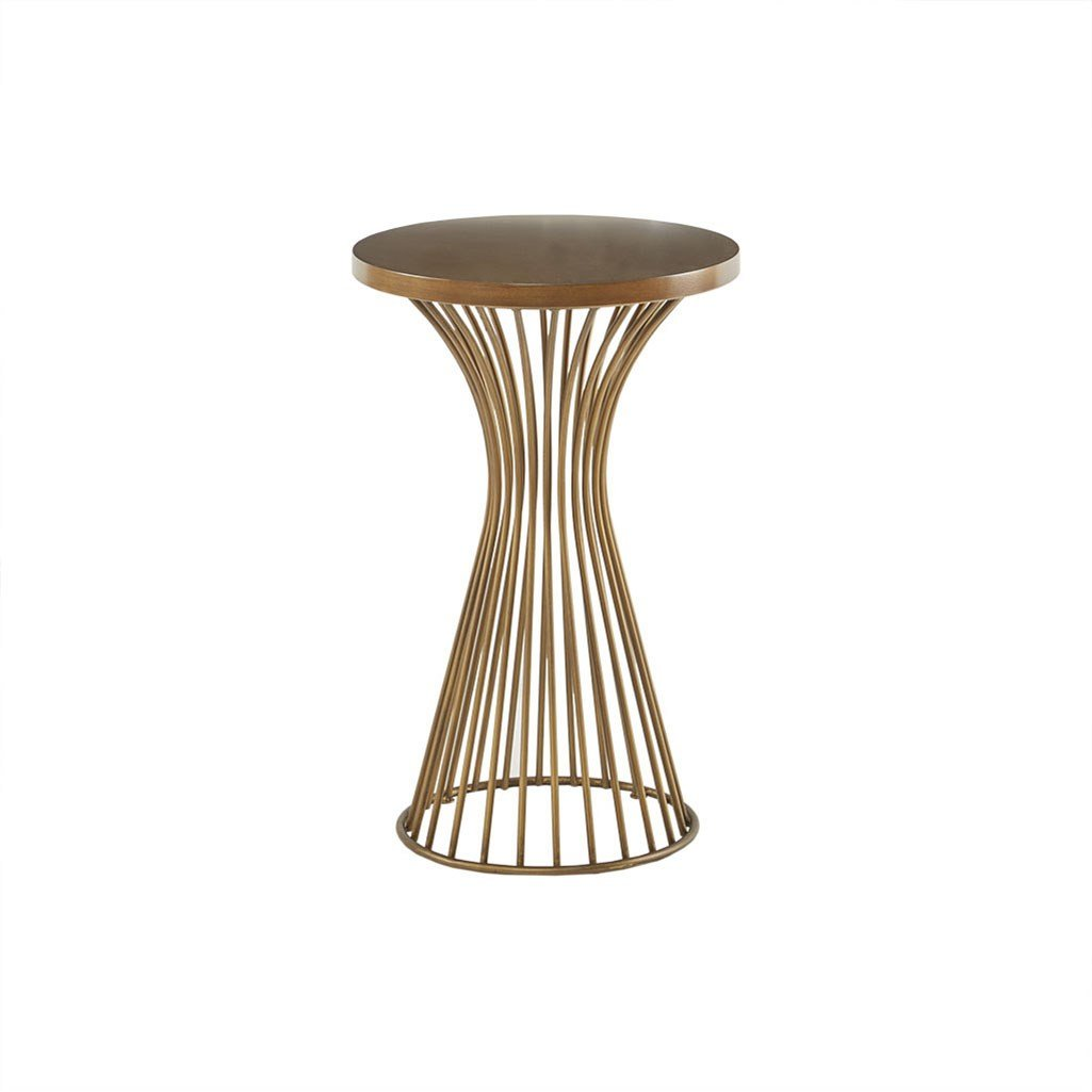 INK+IVY IIF17-0082 Mercer Accent Table - Wire Frame Pedestal Base, Round Top Modern Mid-Century Hour Glass Retro Design, 30'' High, Bronze by Ink+Ivy