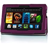 "Fintie Folio Case for Fire HDX 7 - Slim Fit Leather Standing Protective Cover with Auto Sleep/Wake (will only fit Kindle Fire HDX 7"" 2013), Purple"