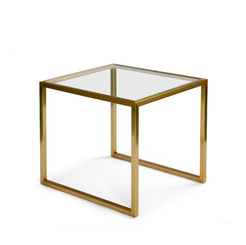 CSQ ゴールデンスモールコーヒーテーブル、クリエイティブリビングルームガラスソファーテーブルアイアンアートいくつかのサイドコーナーいくつかのスクエアテーブルの装飾レジャーテーブルの読書表45 * 45 * 50CM (サイズ さいず : 45*45*50CM) B07DZM9BRC45*45*50CM