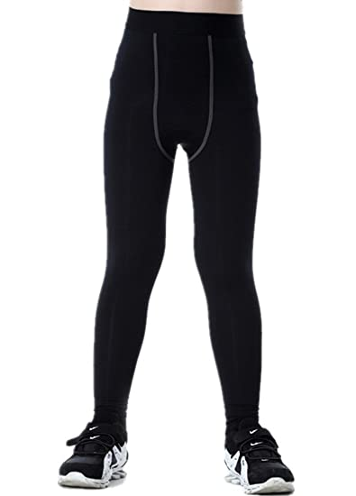 dc4a82428f030 Amazon.com: Boys Compression Pants Base Layers Soccer Hockey Tights ...