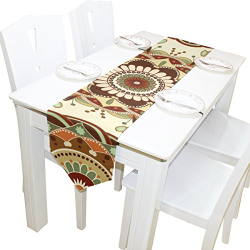 ABLINK Brown Pattern 100% polyester characteristic print double-sided Table Runners