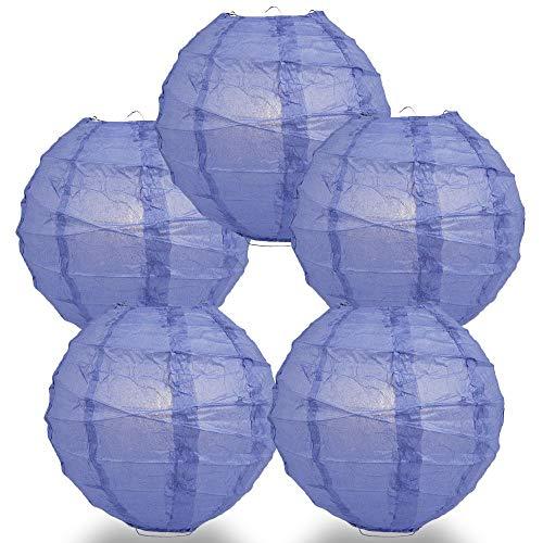 Quasimoon Paperlanternstore.com 5 Pack - 12 Inch Astra Blue Crisscross Ribbing, Hanging Paper Lantern Combo Set (Astra Light Table)