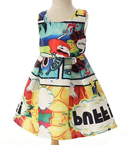 Kidscool Little Girls Sleeveless Flower Print Ball Gown Fall Dress