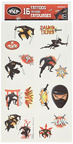 Amscan Action Packed Ninja Temporary Tattoo Birthday Party Favors (16 Pack), 9.2