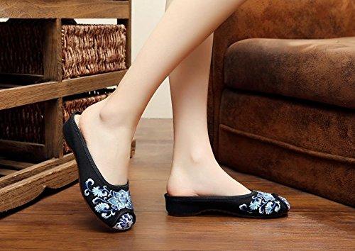 WXT Porcelana azul y blanca Zapatos bordados, lencería, estilo étnico, flip flop femenino, moda, cómodo, sandalias Black